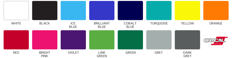 Black Ice Blue Brilliant Cobalt Turquoise Yellow Orange Second Row Red Bright Pink Violet Lime Green Grey Dark
